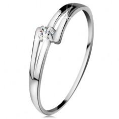 Brilliáns gyűrű fehér 14K aranyból - osztott fényes szárak, átlátszó gyémánt