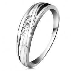Brilliáns gyűrű fehér 14K aranyból, hullámos szárvonalak, három átlátszó gyémánt
