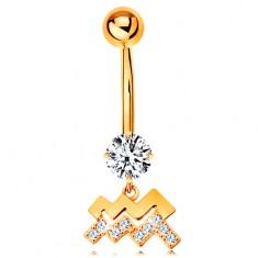 375 arany köldök piercing - átlátszó cirkónia, fényes csillagjegy szimbólum -VÍZÖNTŐ