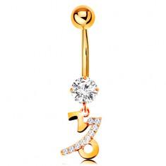 375 arany köldök piercing - átlátszó cirkónia, fényes csillagjegy szimbólum - BAK