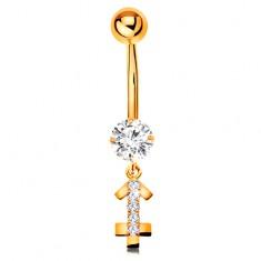 9K arany köldök piercing - átlátszó cirkónia, fényes csillagjegy szimbólum - NYILAS