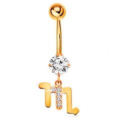 9K arany köldök piercing - átlátszó cirkónia, fényes csillagjegy szimbólum - SKORPIÓ
