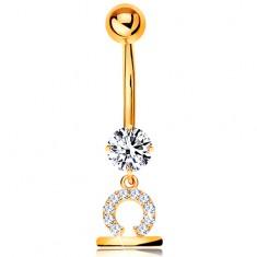375 arany köldök piercing - átlátszó cirkónia, fényes csillagjegy szimbólum - MÉRLEG