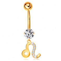 Köldök piercing sárga 375 aranyból - átlátszó cirkónia, csillagjegy szimbólum - OROSZLÁN