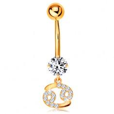 9K arany piercing köldökbe - átlátszó cirkónia, csillogó csillagjegy szimbólum - RÁK