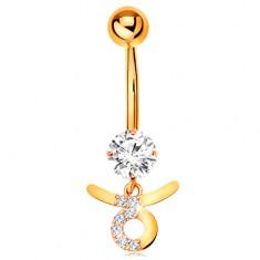 9K arany köldök piercing - átlátszó cirkónia, fényes csillagjegy szimbólum - BIKA