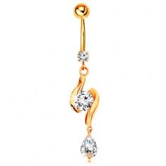 585 arany köldök piercing - két fényes hullám cirkóniával középen és könnycsepp