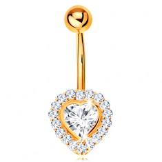 Piercing köldökbe sárga 14K aranyból - átlátszó cirkóniás szív cirkóniákkal szegélyezve