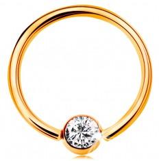 14K arany piercing - fényes karika és golyó beültetett átlátszó cirkóniával, 14 mm