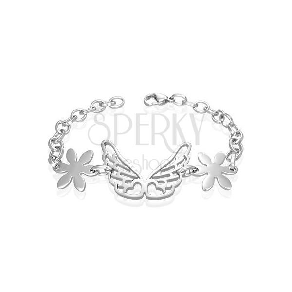 Acél karlánc - angyal szárnyak, virágok