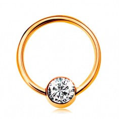 Piercing sárga 14K aranyból - fényes karika golyóval és átlátszó cirkóniával, 10 mm