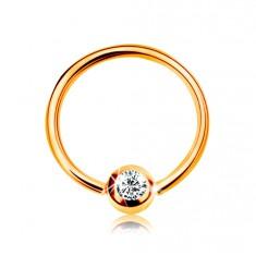 14K arany piercing - fényes karika és golyó beültetett cirkóniával átlátszó színben, 8 mm