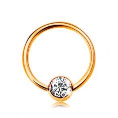 Piercing sárga 14K aranyból - kis karika golyóval, átlátszó cirkónia, 8 mm