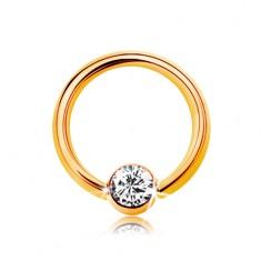 Piercing sárga 14K aranyból - kis karika golyóval és átlátszó cirkóniával, 6 mm