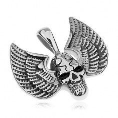 Medál sebészeti acélból, ezüst szín, patinált koponya szárnyakkal