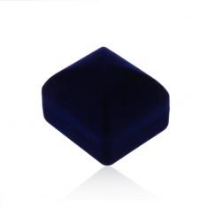 Bársonyos doboz gyűrűre vagy fülbevalóra, sötétkék kidomborodó felület