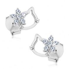 925 ezüst fülbevaló, macska fejének körvonala és átlátszó cirkóniás virág