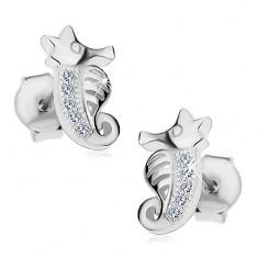 Beszúrós fülbevaló - 925 ezüst, kis csikóhal cirkóniákkal és kivágásokkal díszítve