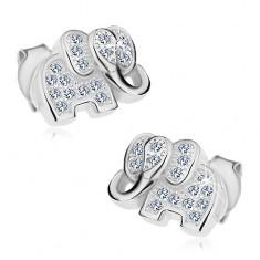 925 ezüst nyaklánc, csillogó elefánt átlátszó cirkóniákkal díszítve