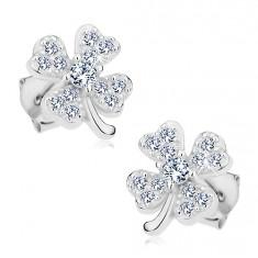 Fülbevaló 925 ezüstből, csillogó szerencsét hozó négylevelű lóhere átlátszó cirkóniákkal