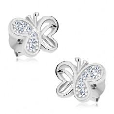 925 ezüst fülbevaló, lepke kivágásokkal és átlátszó cirkóniákkal díszítve, stekkerek