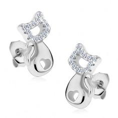 925 ezüst fülbevaló, fényes macska szív alakú kivágással és átlátszó cirkóniákkal