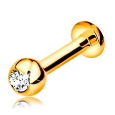 Labret ajakba, állba és ajak fölé 375 aranyból - golyó cirkóniával, 10 mm