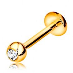 9K arany piercing ajakba és állba - labret golyóval cirkóniával és körrel, 8 mm