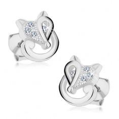 925 ezüst fülbevaló - róka átlátszó cirkóniákkal díszítve, stekkerek