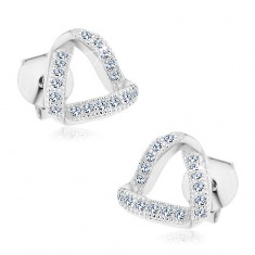 925 ezüst fülbevaló, háromszög hullámos cirkóniás vonalakból
