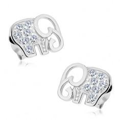 Beszúrós fülbevaló - 925 ezüst, csillogó elefánt átlátszó cirkóniákkal kirakva