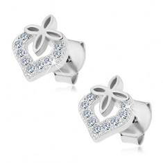925 ezüst fülbevaló, nem teljes szív körvonal cirkóniákkal, kis szívecske