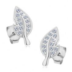 925 ezüst fülbevaló, levél csillogó átlátszó cirkóniákkal és oldalt kivágással