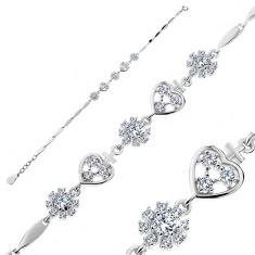 925 ezüst karkötő, cirkóniás szívek és virágok, fényes keskeny elemek