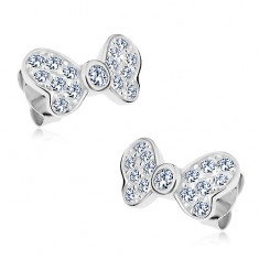 925 ezüst fülbevaló, masni csillogó átlátszó cirkóniákkal, stekkeres kapcsolás