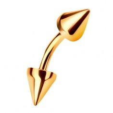 14K arany szemöldök piercing két kúp alakú tüskével, 6 mm