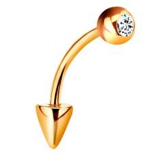 Piercing sárga 14K aranyból - hajlított súlyzó golyóval és kúppal, átlátszó cirkónia, 10 mm