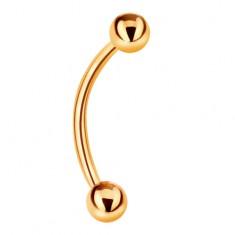 Piercing sárga 14K aranyból - banán és két fényes sima golyó, 10 mm