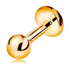 Labret ajakba, állba és ajak fölé - 14K arany, fényes sima golyó, 5 mm