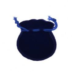 Sötétkék bársonyos ajándéktasak, kék zsinór bekötésre
