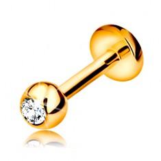 Piercing sárga 14K aranyból - ajakba, állba és ajak fölé, golyó cirkóniával, 6 mm
