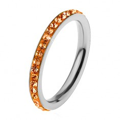 Gyűrű 316L acélból ezüst árnyalatban, cirkóniák narancssárga színben