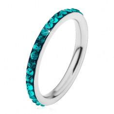 Acél gyűrű ezüst színben, csillogó cirkóniák akvamarin árnyalatban
