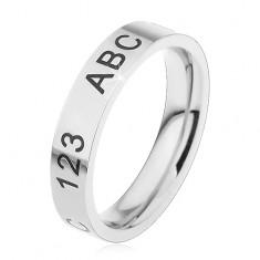 Gyűrű sebészeti acélból ezüst árnyalatban, gravírozott számok és betűk