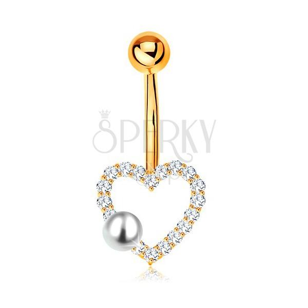 585 arany köldök piercing - banán golyóval, cirkóniás szív körvonal, gyöngy