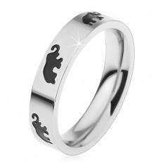 Gyermek acél gyűrű ezüst színben, fekete fénymázas elefántok, magas fényesség