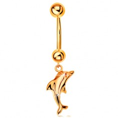 585 arany köldök piercing - banán két golyóval és függő fényes delfin