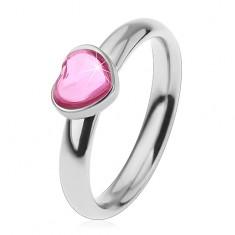 Acél gyűrű gyermekeknek, csillogó cirkóniás szív rózsaszín árnyalatban