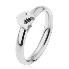 Gyűrű sebészeti acélból, ezüst árnyalat, kis fényes delfin