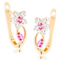 Fülbevaló sárga 14K aranyból - csillogó virág átlátszó és rózsaszín cirkóniákból